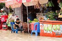 Street scene of floods in Siem Reap. Cambodia. Asia