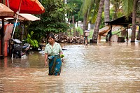 Street scene of floods in Siem Reap. Cambodia. Asia