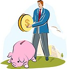 A man putting a large coin into a piggy bank