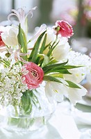 A festive spring bouquet with white tulips