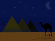 A camel standing by a row of pyramids