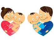 Illustration of a mother father and two babies