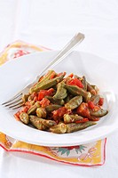 Okra pods with tomatoes