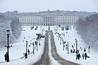 stormont parliament buildings on a cold snowy winters day Belfast Northern Ireland