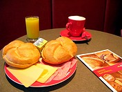 Fast Food  Ham and Cheese, Bread, Fresh Orange Juice and Coffee  Anker Bakery Shop, Vienna, Austria