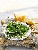 Spinach and rocket salad with Parmesan