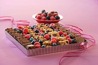 Brownie and Fruit Platter with Pink Ribbon