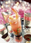 Verrine of shrimp and vegetable aspic