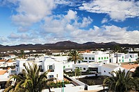 View over Yaiza towards the Montañas del Fuego, Mountains of Fire, Lanzarote, Canary Islands, Spain, Europe