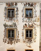 Wall paintings on the rear facade of the Hirschenhaus building, Berchtesgaden, Berchtesgadener Land, Upper Bavaria, Bavaria, Germany, Europe