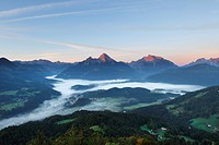 View from Kneifelspitze mountain across Berchtesgaden towards Watzmann and Hochkalter mountains, in the morning, Berchtesgaden Alps, Berchtesgadener L...
