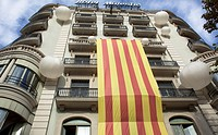 Catalonian flag in a hotel