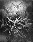 Gustave Doré, The Fall of the Rebel Angels from John Milton's Paradise Lost, Black and White Engraving