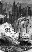 Gustave Doré, Sinbad Amongst the Serpents in The Valley of Diamonds, Black and White Engraving