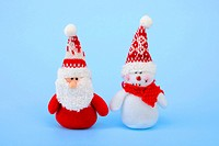 Santa Claus and snowman made of fabric, plush