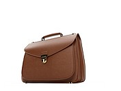 isolated brown leather handbag over white