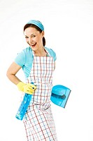 Cleaning lady at work