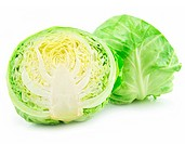 Ripe Sliced Cabbage Isolated on White