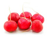 Ripe Red Radishes Isolated on White