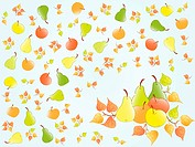 autumn fruits background. Vector