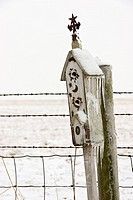 Ice and snow covered birdhouse next to a fence and field in mid-winter