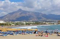 Puerto Banus beach, Marbella, Malaga province, Costa del Sol, Andalucia, Spain.
