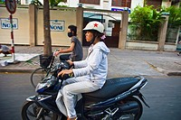 People in motorbike. Ho Chi Minh City (formerly Saigon). South Vietnam.