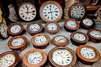Paris, France, Shopping, Flea Market, Porte de Clignancourt, French Antiques Market, Old Clocks Shop, Display