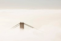 Bridge piers of the Golden Gate Bridge in Fog, San Francisco, California, USA, America