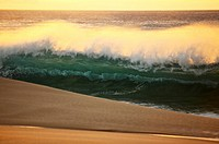 Hawaii, Oahu, North Shore, Sunset light illuminating ocean wave along beach.
