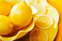 Closeup of lemons and lemon slices
