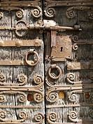 Detail of the Romanesque church door, Boule-d'Amont, Pyrenees-Orientales, Languedoc-Roussillon, France