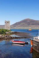 Carrickahowley Castle, Granuaile´s Tower, harbour of Cloghmore, Achill Island, Corraun Hill at the back, County Mayo, Connacht province, Republic of I...