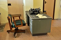 Desk of the officer on watch in the prison, Alcatraz Island, California, USA