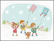 illustration of kids running kites in winter