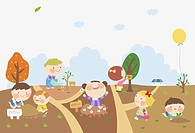 illustration of kids farming the garden