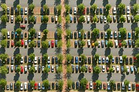 Aerial view, car park of OLG Hamm, Hamm higher regional court, commuter parking, Hamm, Ruhrgebiet area, North Rhine-Westfalia, Germany, Europe