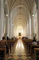 Interior view, Parish Church of St. Nicholas, Rosenheim, Bavaria, Germany, Europe