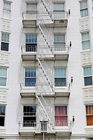 Fire escapes on a building facade in San Francisco, California, USA, North America