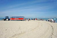 Sanddormen dunes train at headland with tourists visiting, area where the North Sea and the Baltic Sea meet, Skagen, Jutland, Denmark, Europe