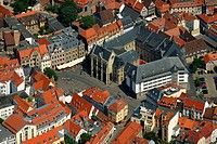Aerial view, townhall, Erfurt, Thuringia, Germany, Europe