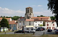 View towards Notre Dame church, Vouvant , Pays de la Loire, Vendee , France