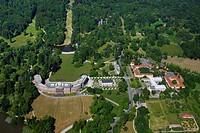 Aerial view, Schloss Wilhelmshoehe Palace, Ball House, Orangery, Schloss Wilhelmshoehe Hotel, Bergpark Wilhelmshoehe mountain park, Kassel, Hesse, Ger...