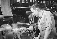 High speed turning on a turret lathe. Worthington Pump & Machinery Corp. Harrison, New Jersey.