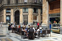 Italy, Campania, Naples, the Galleria Umberto I, Cafe