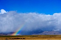 Rainbow over mountains, Three Forks, Gallatin County, Montana, USA