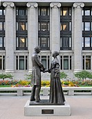 Monument to Joseph and Emma Smith, in front of the Joseph Smith Memorial Building, Temple of The Church of Jesus Christ of Latter-day Saints, Mormon C...