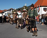 Ceremonial driving down of cattle from the mountain pastures, returning of the cattle to their respective owners, decorated cows, Pfronten, Ostallgaeu...