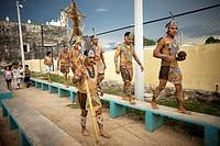 Mayan ball players walk in Chapab village in Yucatan state in Mexico´s Yucatan peninsula, Mexico, June 13, 2009