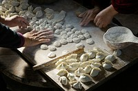 Making traditional dim sum Chinese dumplings  Meat dough pastry and spring onions cuisine  Farm kitchen Shandong Province, China